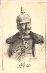Künstler Ak Kaiser Wilhelm II., Portrait in Uniform, Pickelhaube