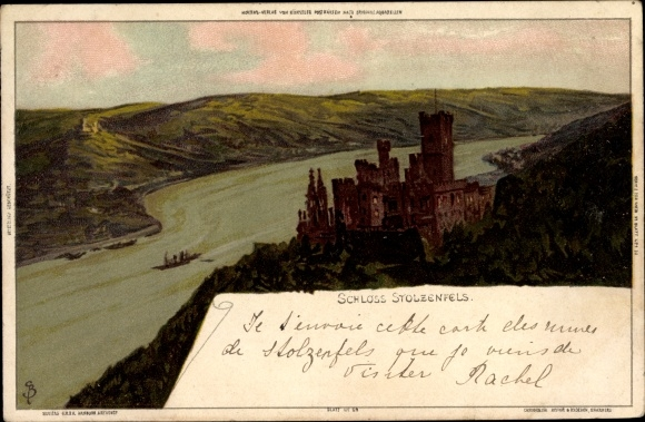 Künstler Litho Biese, C.,Koblenz in Rheinland Pfalz, Ansicht vom Schloss Stolzenfels mit Rheinpartie