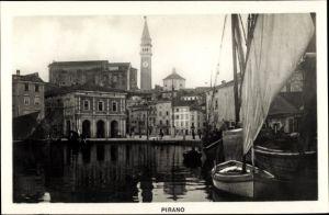 Ak Pirano Piran Slowenien, Partie am Hafen, Uhrturm