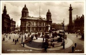 Ak Kingston upon Hull East Riding of Yorkshire England, Victoria Square, Denkmal, Straßenansicht