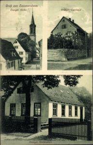 Ak Haßmersheim im Neckar Odenwald Kreis, Ev. Kirche, Ev. Pfarrhaus, Ev. Kinderschule