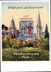 Künstler Ak Bohn, Wattenheim in der Pfalz, Heimatfest 1957, Stadtansicht, Glockenturm
