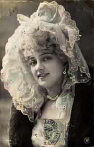 Ak Dame in Kleid, Hut, Portrait, NPG 435/4