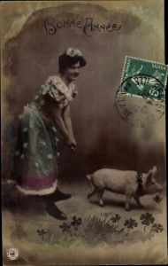 Ak Glückwunsch Neujahr, Glücksschwein, Kleeblätter, Dame in Kleid, Portrait, NPG