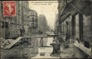 Ak Levallois Perret Hauts de Seine, Crue de Janvier 1910, La Rue Raspail