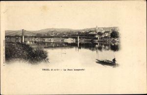 Passepartout Ak Triel sur Seine Yvelines, Le Pont suspendu, vue générale, barque