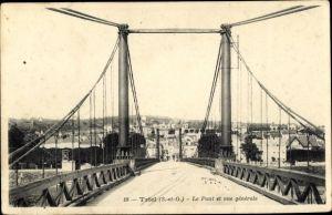 Ak Triel sur Seine Yvelines, Le Pont et vue générale de la ville
