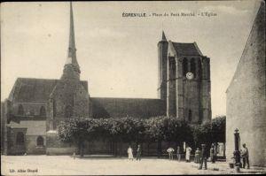 Ak Egreville Seine-et-Marne, Place du Petit Marché, L'Église