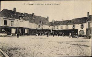 Ak Égreville Seine-et-Marne, Place du Marché