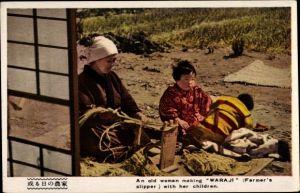 Ak Japan, An old woman making Waraji with her children, Farmer's slipper