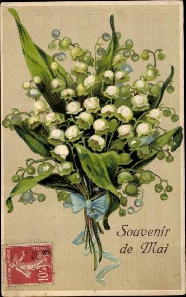 Präge Ak Souvenir de Mai, Maiglöckchen, Blumenstrauß