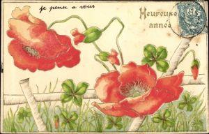 Präge Litho Glückwunsch Neujahr, Kleeblätter, Mohnblüten