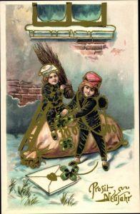 Ak Glückwunsch Neujahr, Schornsteinfeger, Kleeblätter, Geldsack