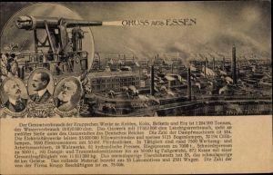 Ak Essen im Ruhrgebiet, Alfred Krupp, Friedrich Alfred Krupp, Gustav Krupp v. Bohlen und Halbach
