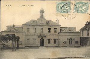 Ak Triel sur Seine Yvelines, La Mairie, vue de face, inscription