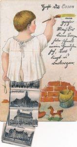 Leporello Ak Essen im Ruhrgebiet, Junge streicht Wand gelb, Hauptpostamt, Handelshof, Saalbau