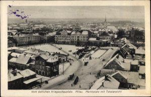 Ak Jelgava Mitau Lettland, Marktplatz im Winter, Blick über die Dächer der Stadt