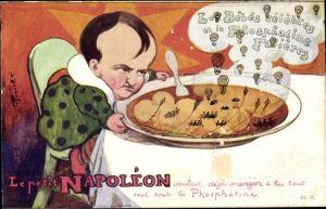 Künstler Ak Le petit Napoleon, Les bebes celebres et la phosphatine Fallières