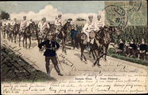 Ak Deutsche Armee, Pickelhaube, Husaren, Weinberg, Kaiserreich