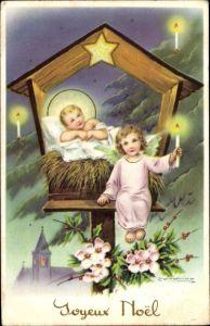 Künstler Ak Frohe Weihnachten, Engel mit Jesuskind, Ilex, Christrosen