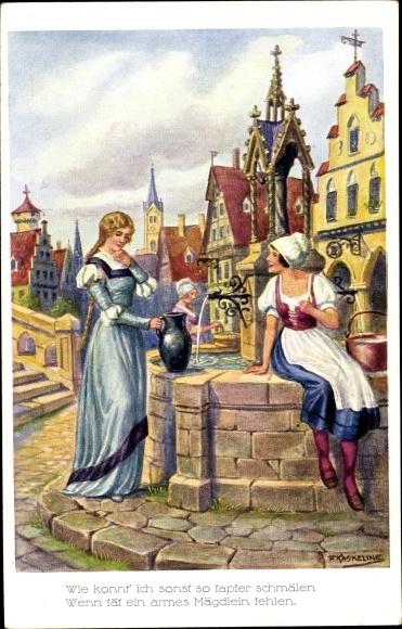 Künstler Ak Kaskeline, F., Frauen am Brunnen