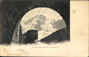 Ak Kanton Bern, Jungfraubahn mit Blick auf Mönch, Tunnel