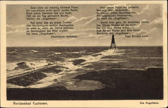 Gedicht Ak Cuxhaven In Niedersachsen Die Kugelbake Meer Gedicht Von Paul Richard Luck