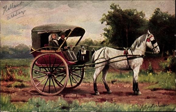 Künstler Ak Gerstenhauer, Johann Georg, Paar in einer Kutsche, Niederlande