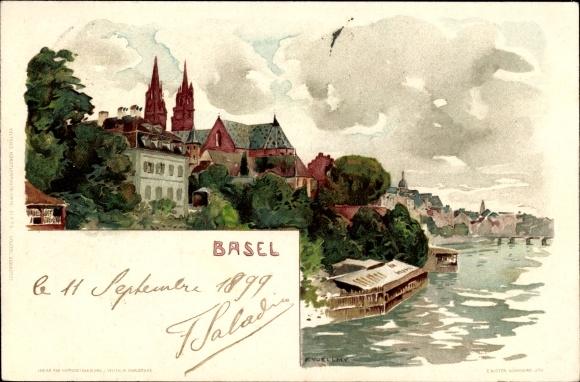 Künstler Litho Voellmy, F., Bâle Basel Stadt Schweiz, Uferpartie, Kirchtürme, Bootshäuser