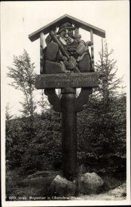 Ak Szklarska Poręba Schreiberhau Riesengebirge Schlesien, Wegweiser