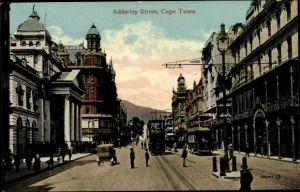 Ak Cape Town Kapstadt Südafrika, Adderley Street, tramway
