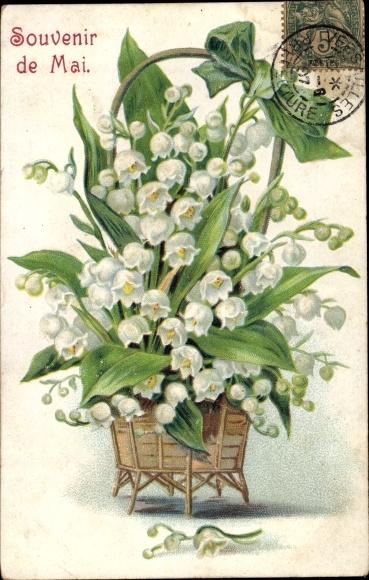 Präge Ak Souvenir de Mai, Maiglöckchen, Blumenkorb