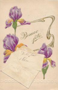 Präge Litho Glückwunsch Geburtstag, Schwertlilien, Brief