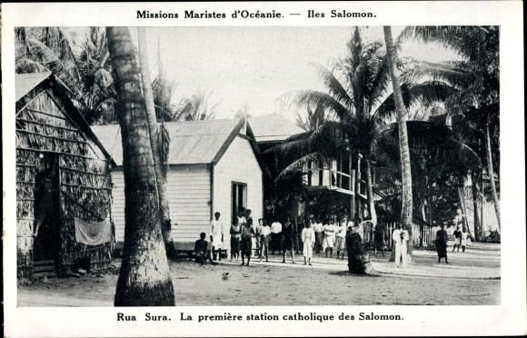 Ak Iles Salomon, Rua Sura, La première station catholique des Salomon