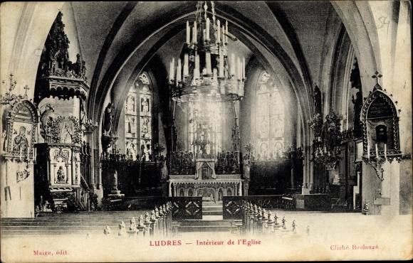 Ak Ludres Lothringen Meurthe et Moselle, Intérieur de l'Eglise