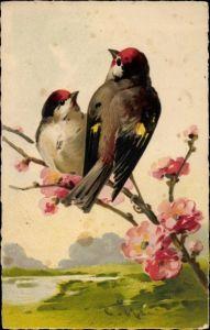 Künstler Ak Klein, Catharina, Zwei Vögel auf einem Zweig