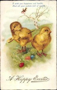 Ak Glückwunsch Ostern, vermenschlichte Küken auf Wiese, Ostereier, Vogel auf Ast
