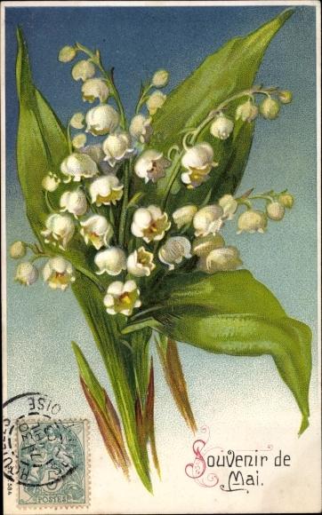 Präge Ak Souvenir de Mai, Maiglöckchen
