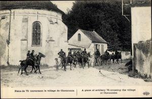 Ak Chauconin Seine et Marne, Piece de 75, artillerie, Geschütz