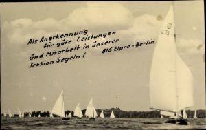 Foto Ak Sektion Segeln, BSG Elpro Berlin, Segelragatta