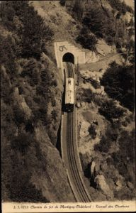Ak Chemin de fer de Mortigny Chatelard, Tunnel des Charbons, Zahnradbahn