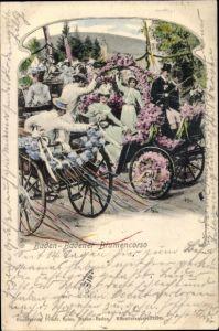 Ak Baden Baden am Schwarzwald, Blumenkorso, Kutschen, Damen mit Hut, Kutscher