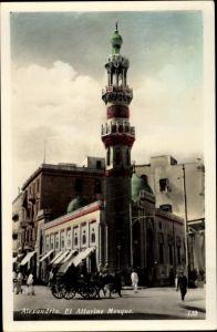 Ak Alexandria Ägypten, El Attarine Mosque, caleche