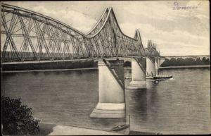 Ak Cernavoda Rumänien, Die Donaubrücke