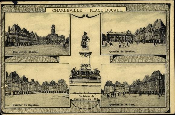 Ak Charleville Mézières Ardennes, Quartier du Théâtre, Quartier du Moulinet, Quartier de la Gare