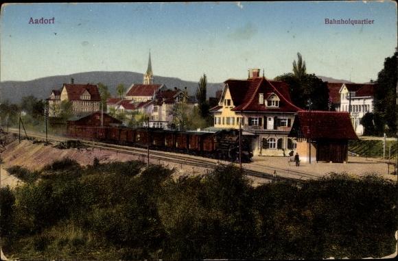 Ak Aadorf Kt. Thurgau Schweiz, Bahnhofquartier, Dampflok, Bahnhof, Gleisseite