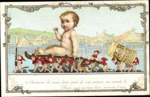 Litho Farine Lactée Nestle, Reklame, Zwerge tragen ein Baby