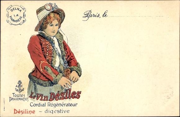 Litho Paris, Le Vin Désiles, Cordial Régénérateur, digestive, Reklame, Frau