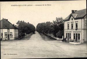 Ak Cosne d'Allier Allier, Avenue de la Gare, Restaurant Vincent, Hotel et Café de la Gare