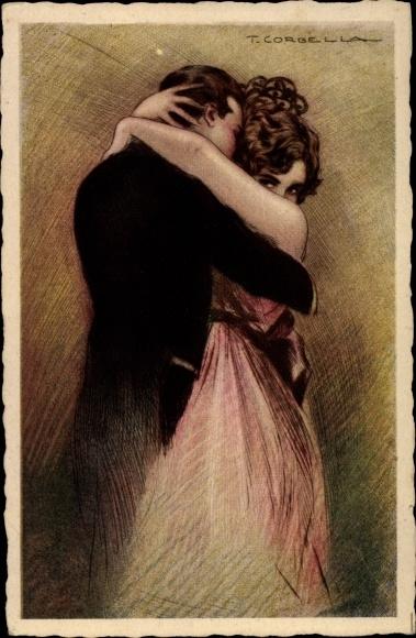 Künstler Ak Corbella, T., Junge Frau im Kleid umarmt Mann